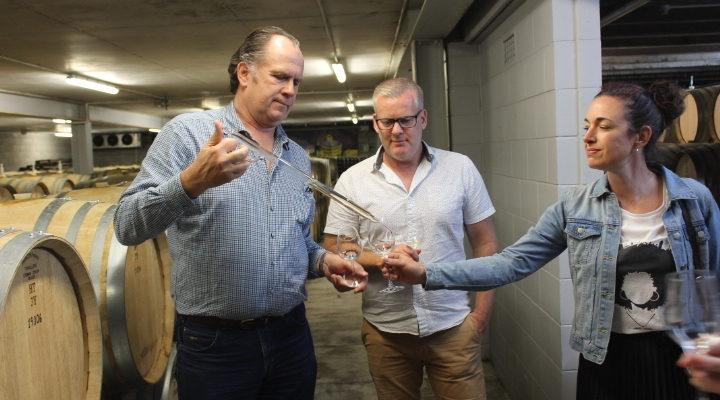Michael Bajkovich MW of Kumeu River with wine from 2019 barrels