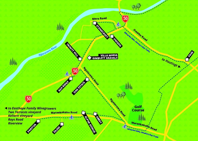 Gimblett Gravels and Bridge Pa map
