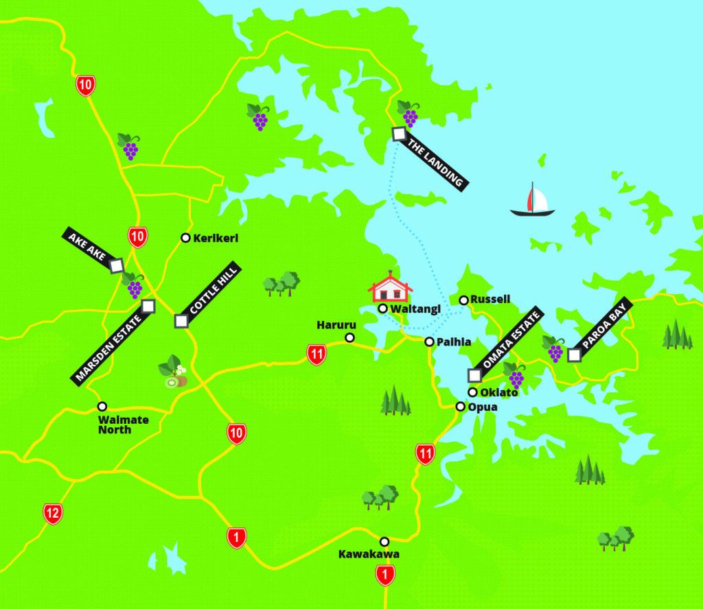 Bay of Islands wine map
