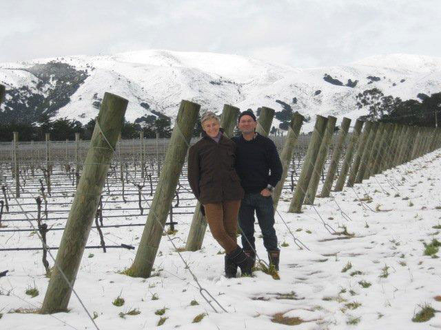 Snow at Big Sky vineyard
