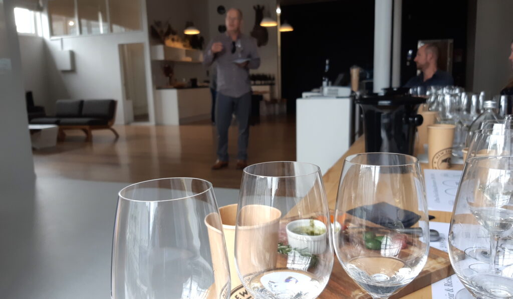 Olly Masters at wine tasting