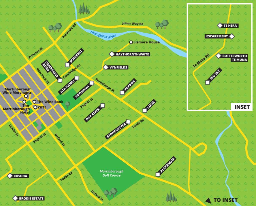 Martinborough wine map