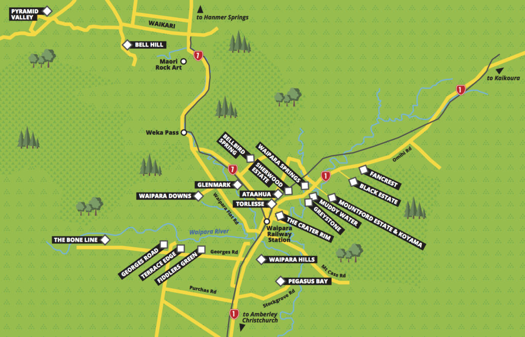 North Canterbury wine map